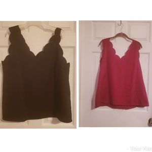 Set of 2 Shein Scalloped Tanks Black/Cranberry